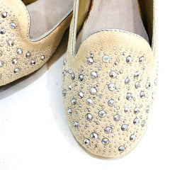 Cream Rhinestone Studded Loafer Flat Shoes