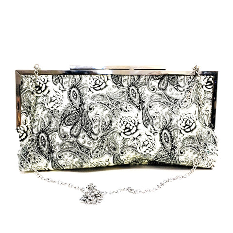 Damask Black & White Clutch Bag