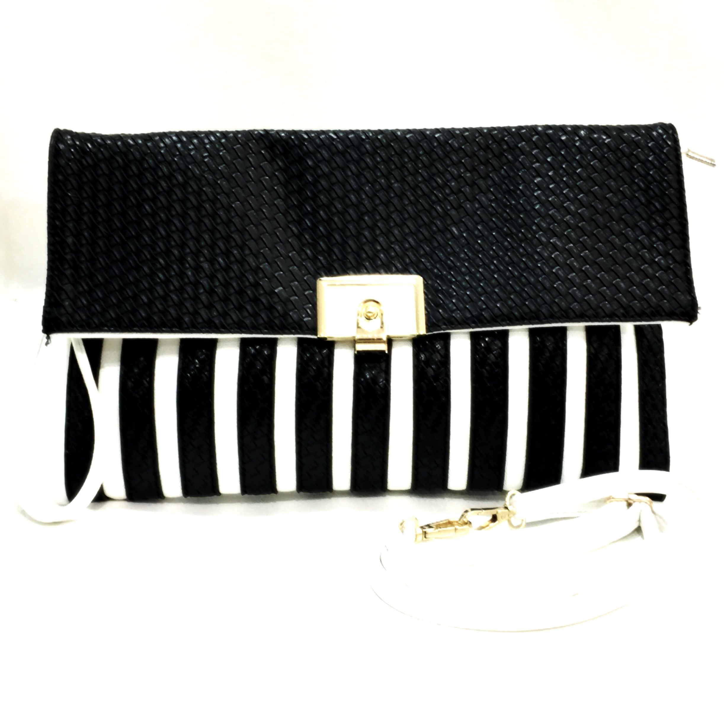 River Island Black & White Striped Clutch Bag