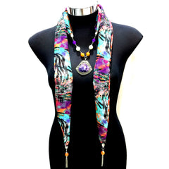 Scarf With Jewellery Pendant -SC07M