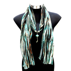 Scarf With Jewellery Pendant -SC010G