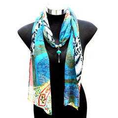 Scarf With Jewellery Pendant -SC012M