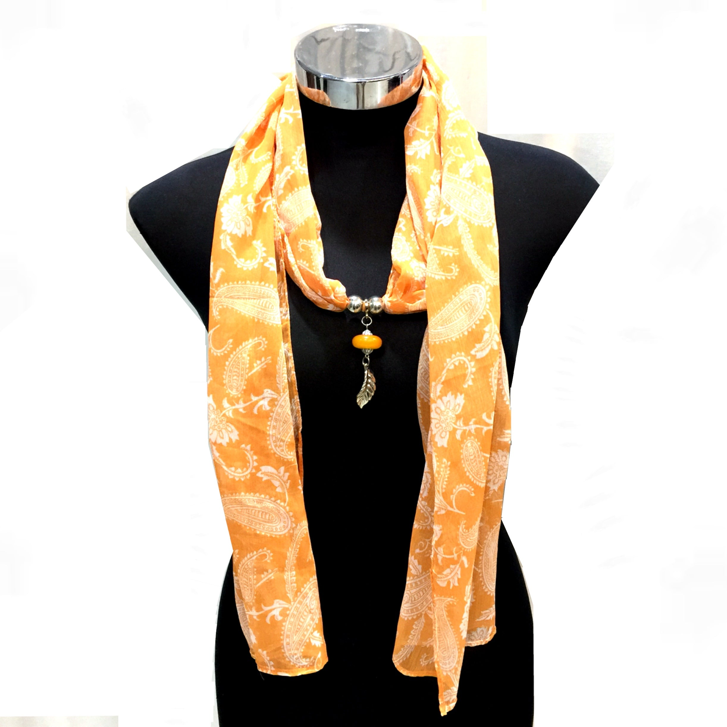 Scarf With Jewellery Pendant -SC013O