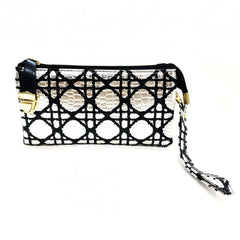 Geometric Black & Silver Clutch Bag