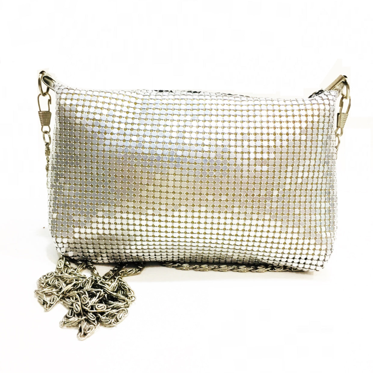 Leopard Mesh Silver Clutch Bag
