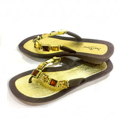 Bling, Sparkly, Shiny Thongs - Sandals Brown
