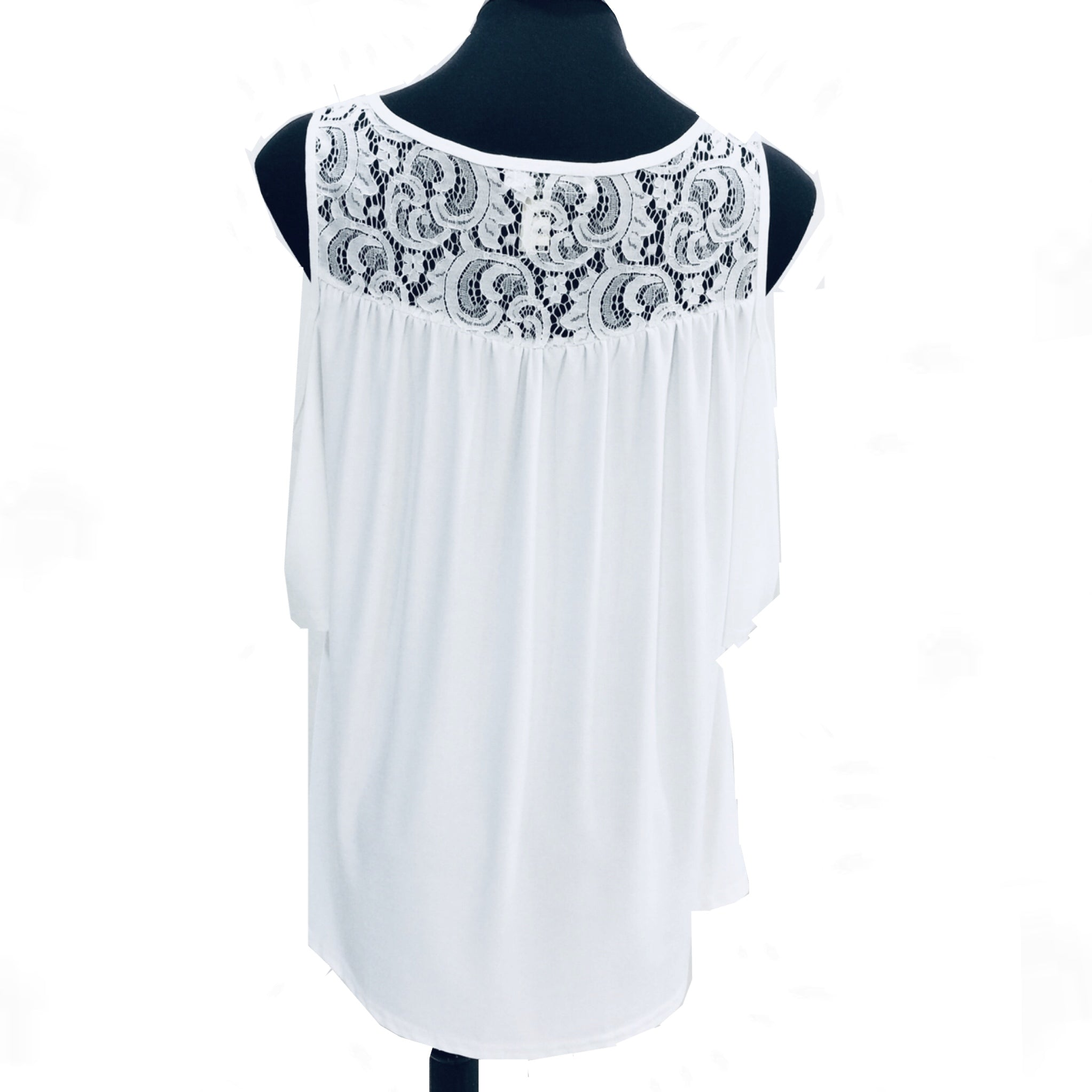White Lace Top with Sleeves