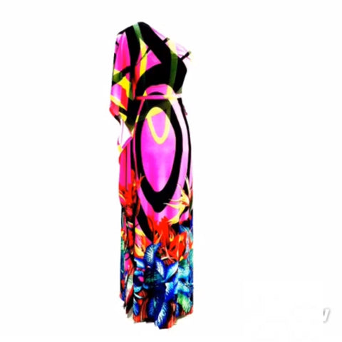 Print One-Shoulder Maxi Dress