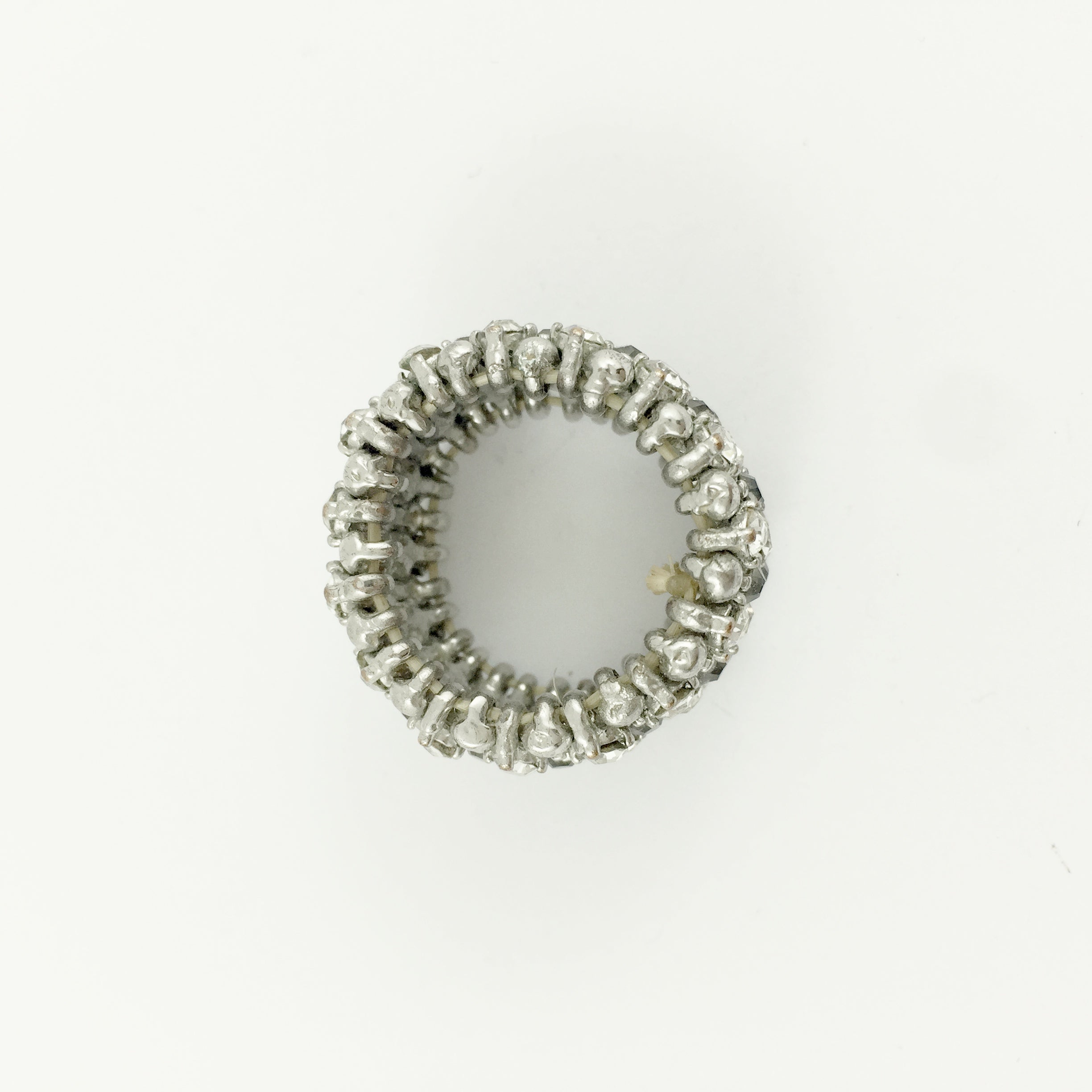 Boho Diamante Stretch Silver Ring