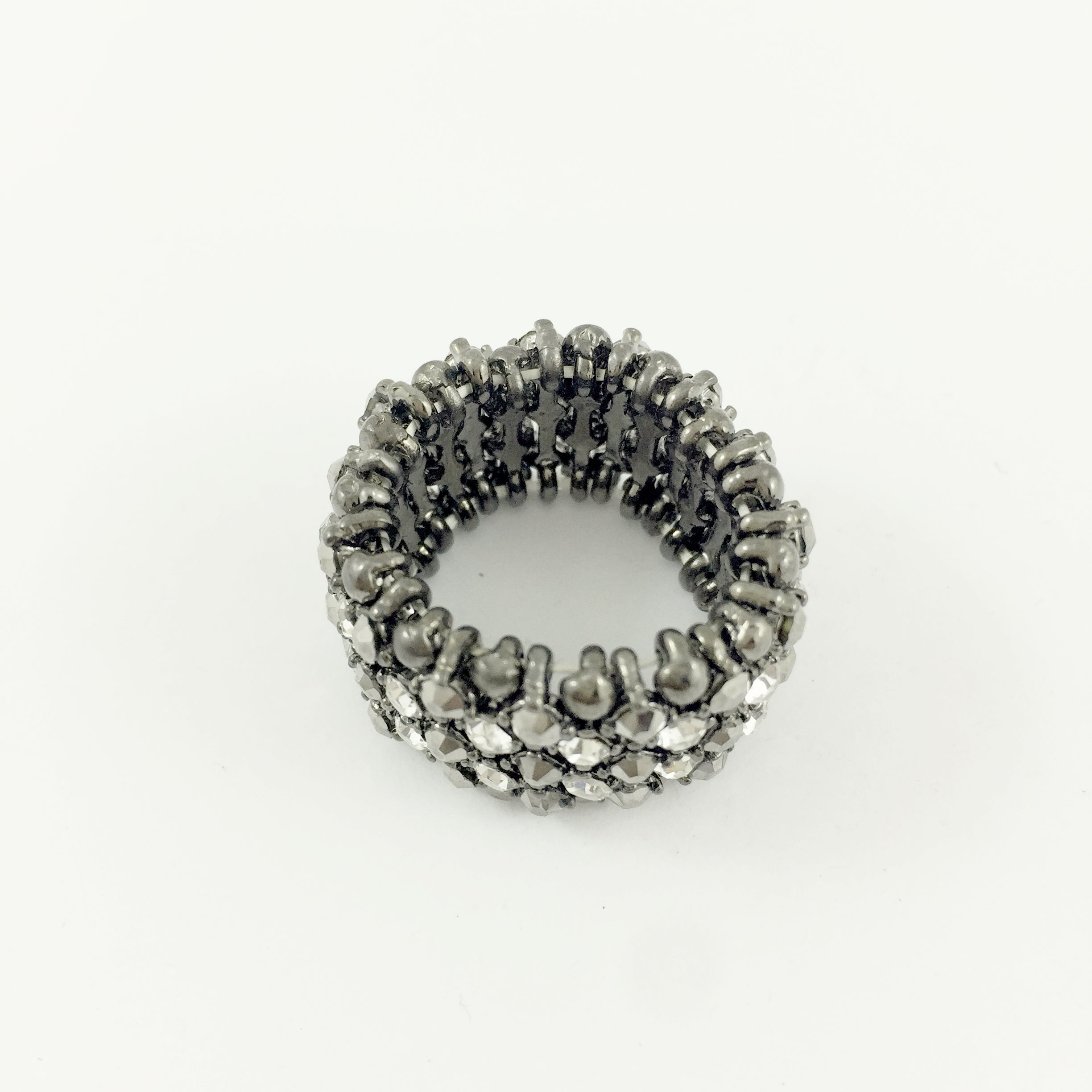 Boho Diamante Stretch Black Ring