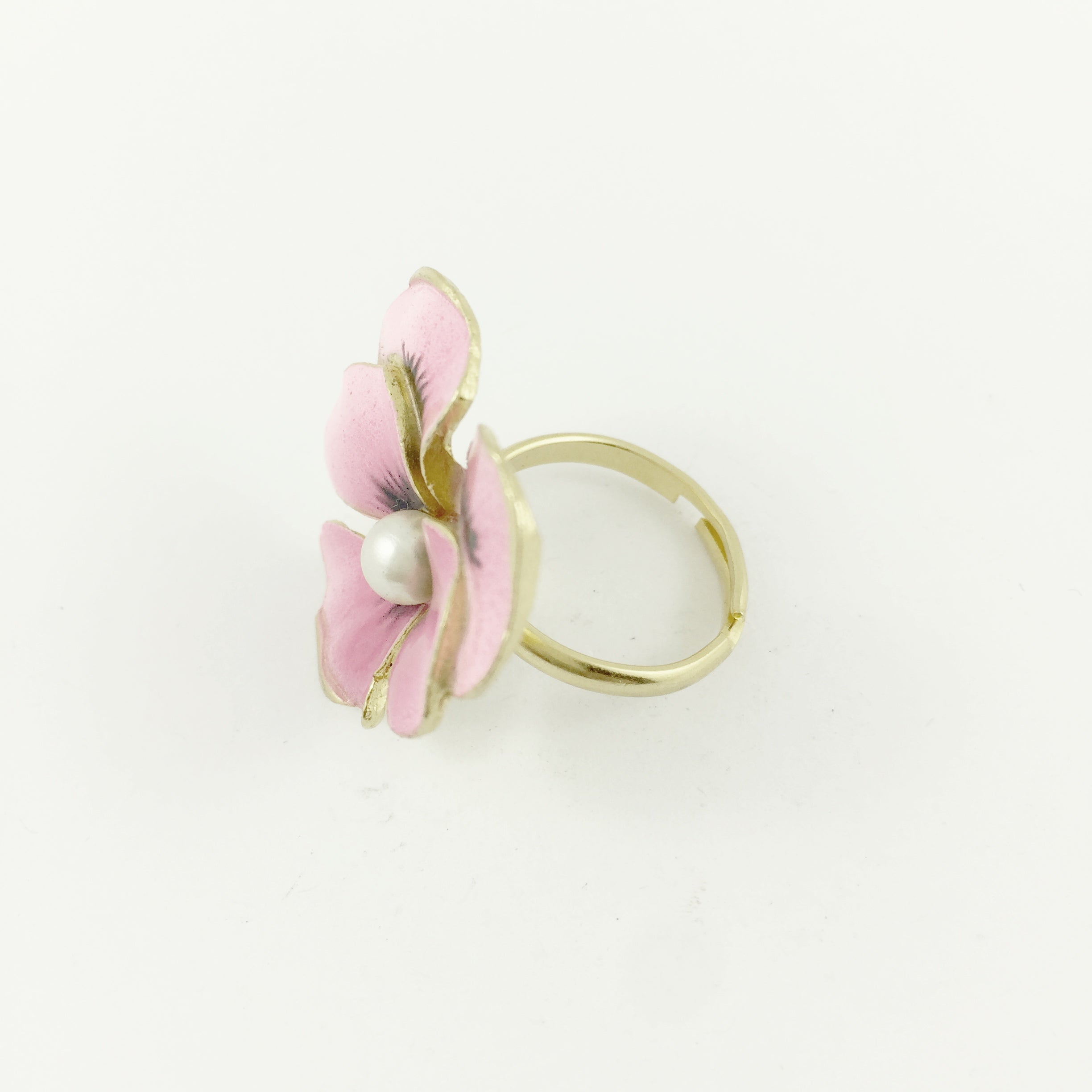 Elisa Pink Pearl Flower Ring