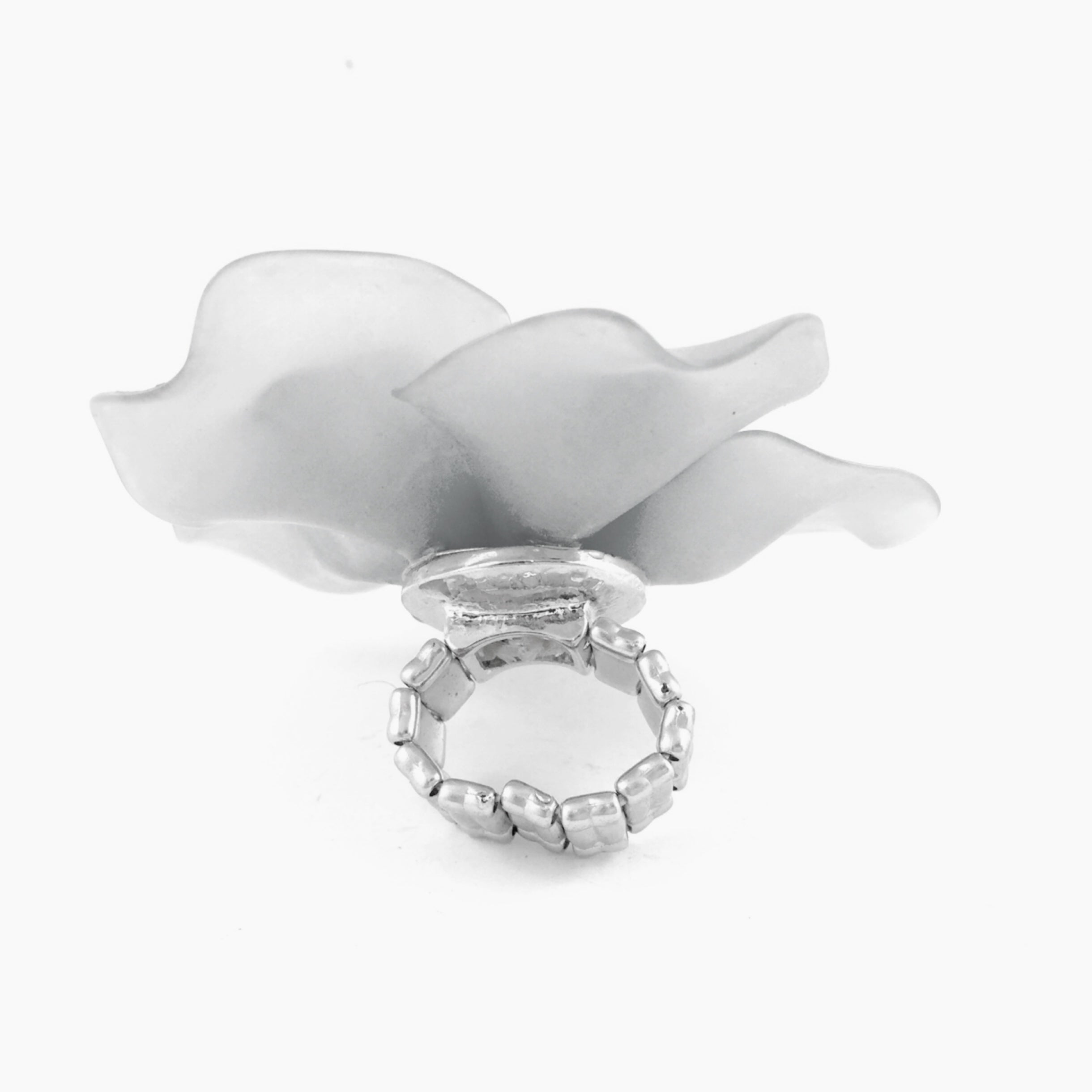 Flower Statement White Ring