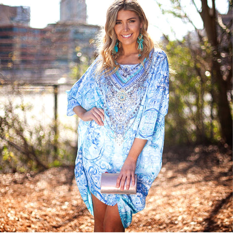The Mediterranean Blue Dress with Small Overlay