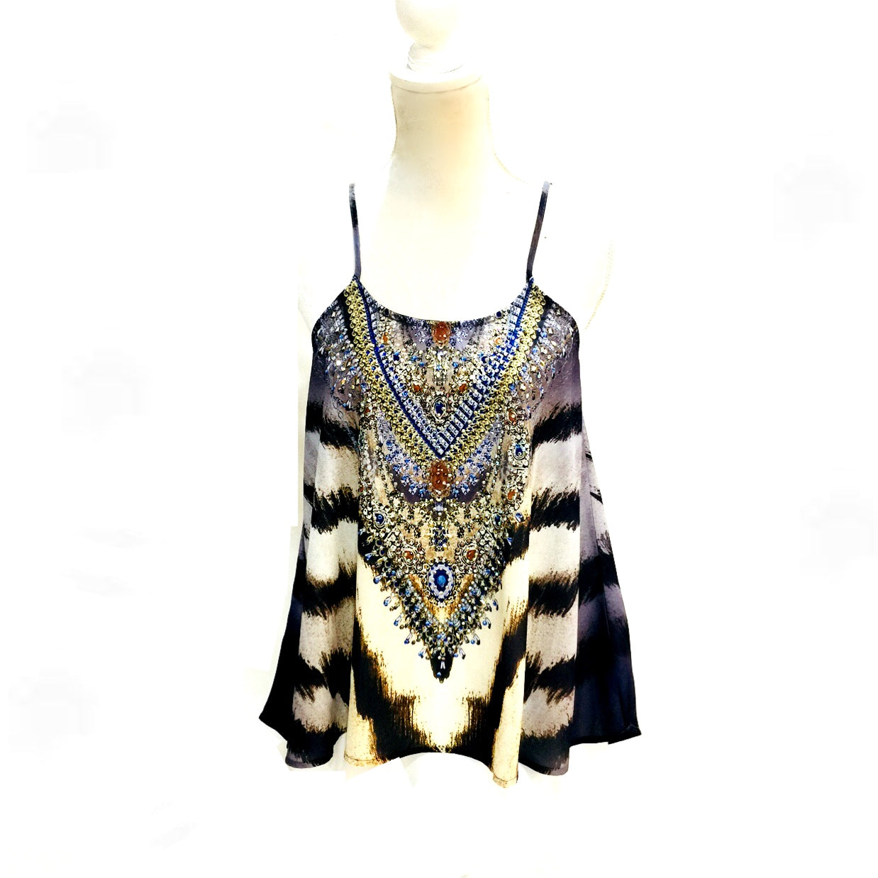 Mediterranean Gem Shoestring Strap Top Roar