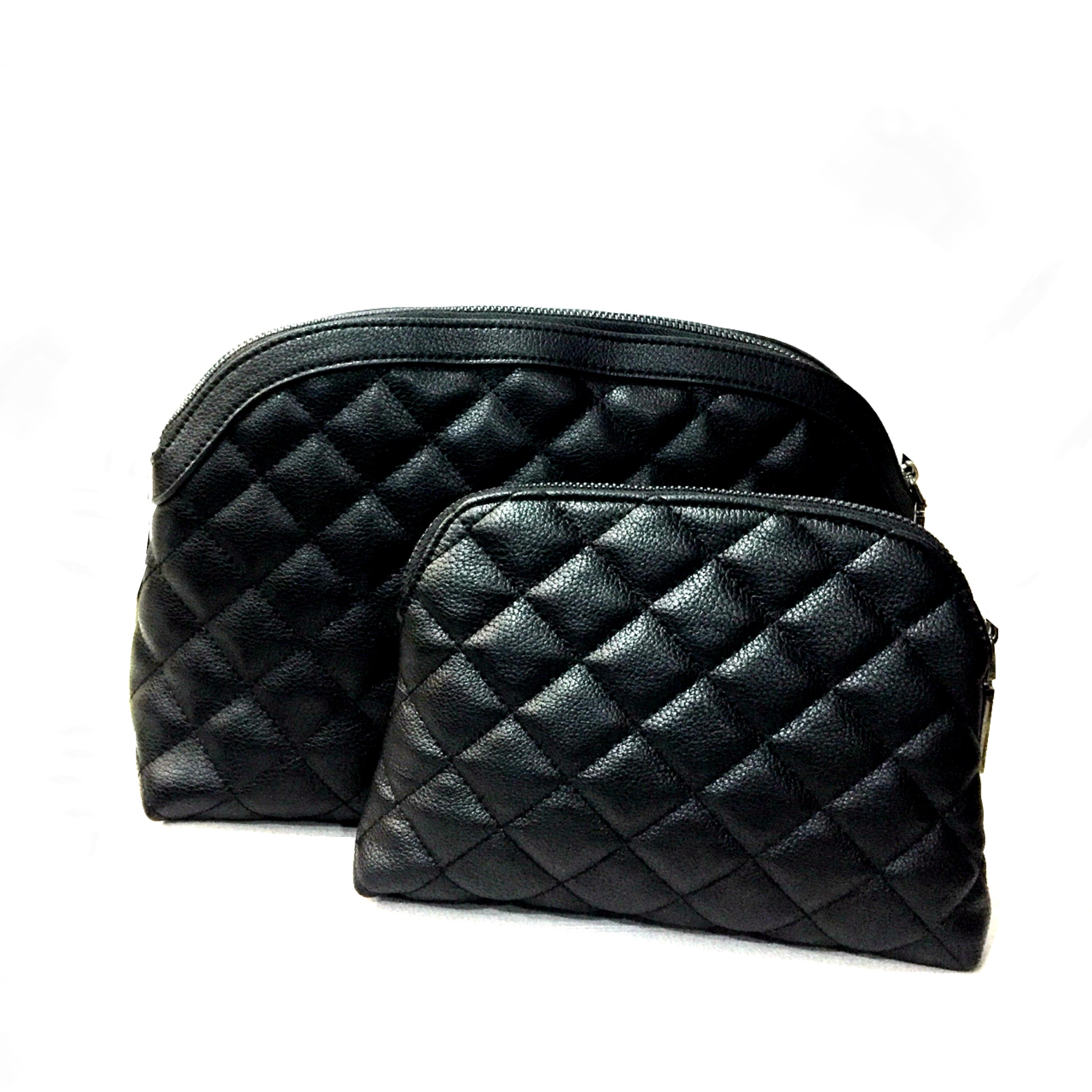 The Moselle Quilted Toiletries & Make Up Set - Black
