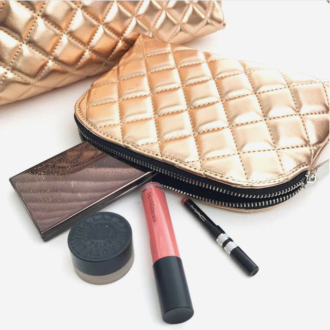 The Moselle Quilted Toiletries & Make Up Set - Gold