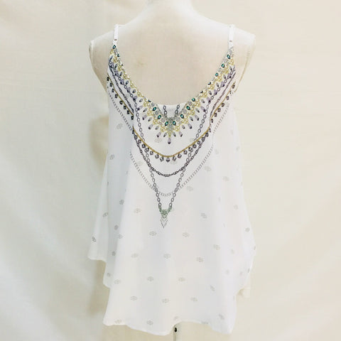 Mediterranean Gem Shoestring Strap Top White