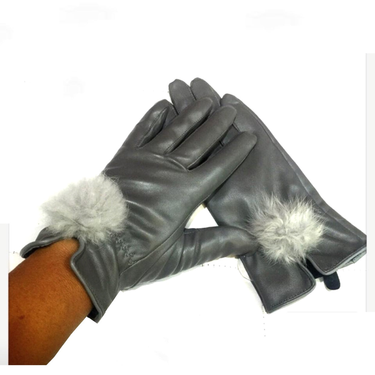 Grey Pom Pom Gloves