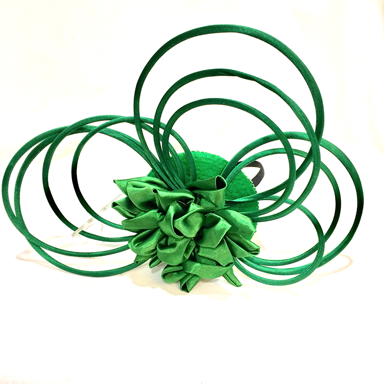 Green Satin Loop Fascinator