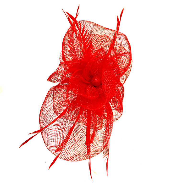 Red Flower Sinamay Fascinator