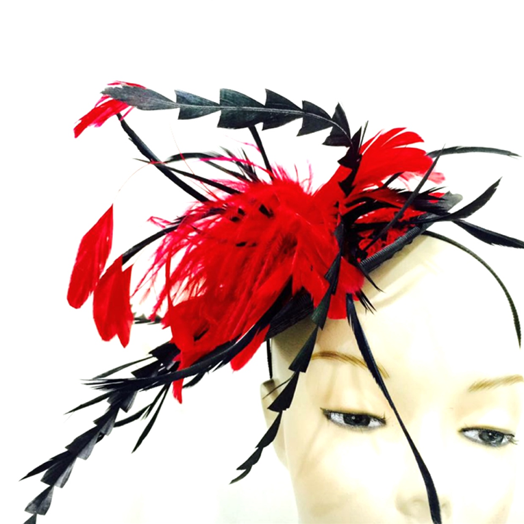 Red, Pink Tones & Black Feathers Fascinator Hat