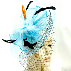 Elegant Flower Mesh Net Hair Fascinator With Feathers
