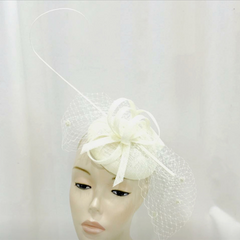 Classic Sinamay Fascinator with dotted Mesh