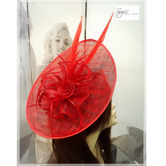 Red Disc Fascinator With Coral Rose Design