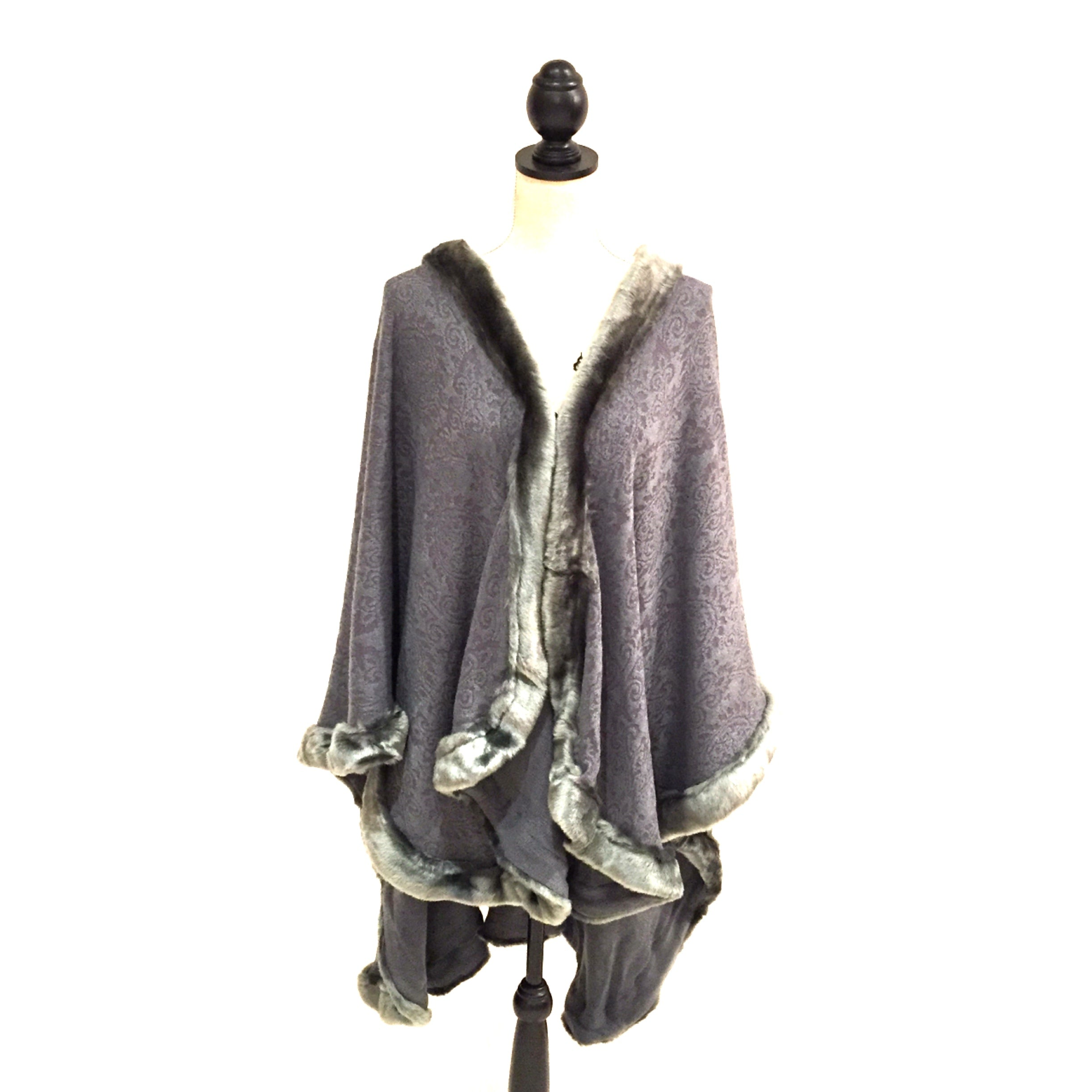 Patterned Grey Poncho Shawl