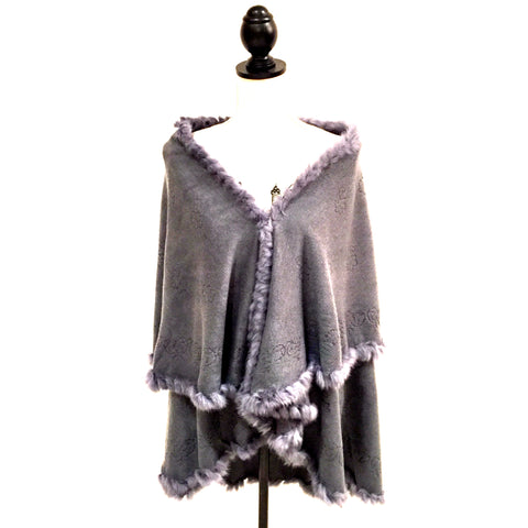 Patterned Rabbit Shawl Grey