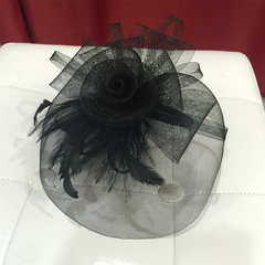 Rose Sinamay Bow Fascinator With Feathers