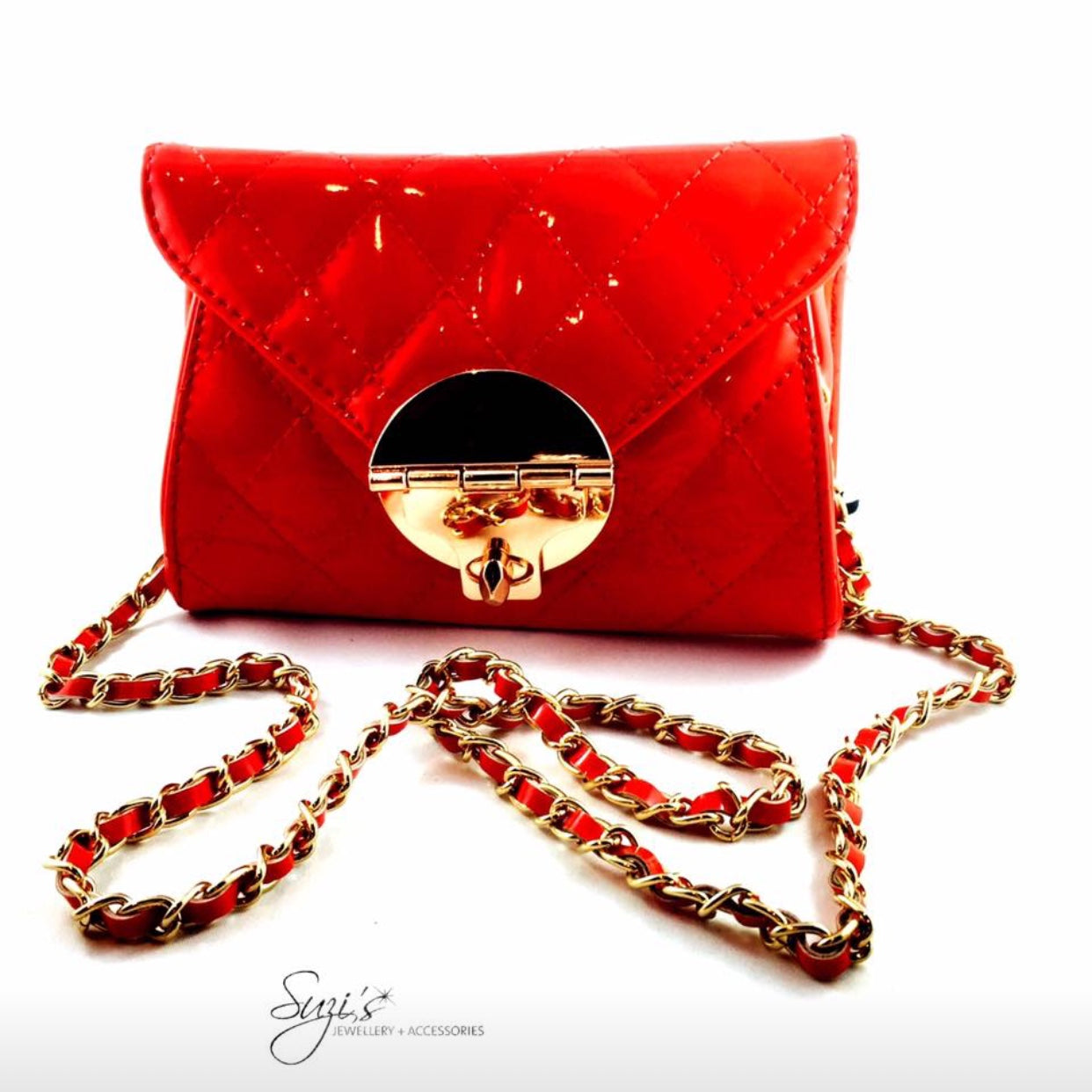 Patent Red Quilted Bag