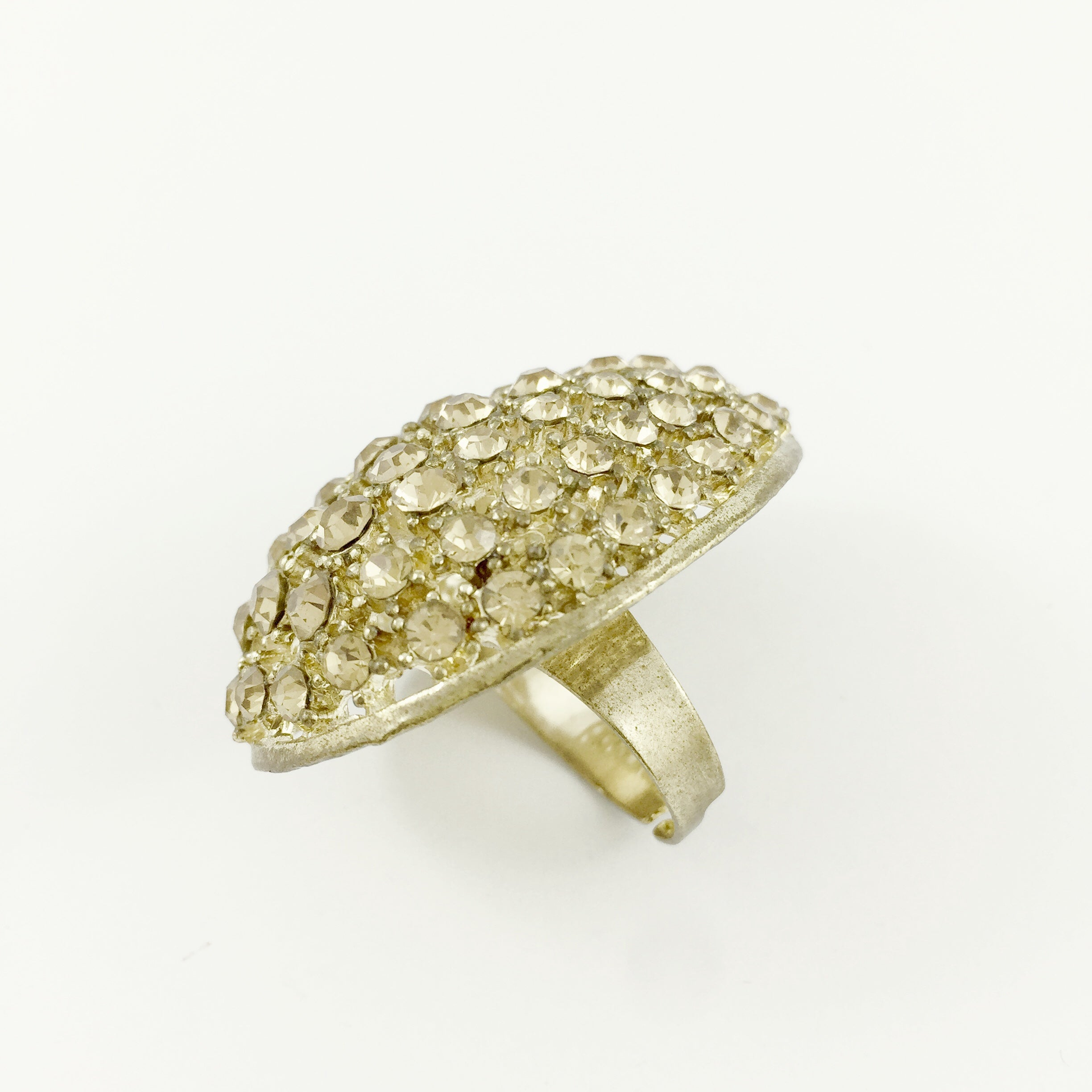 Diamante Teardrop Gold Ring