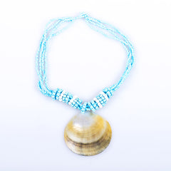 Mother-of-Pearl Blue Pendant Necklace