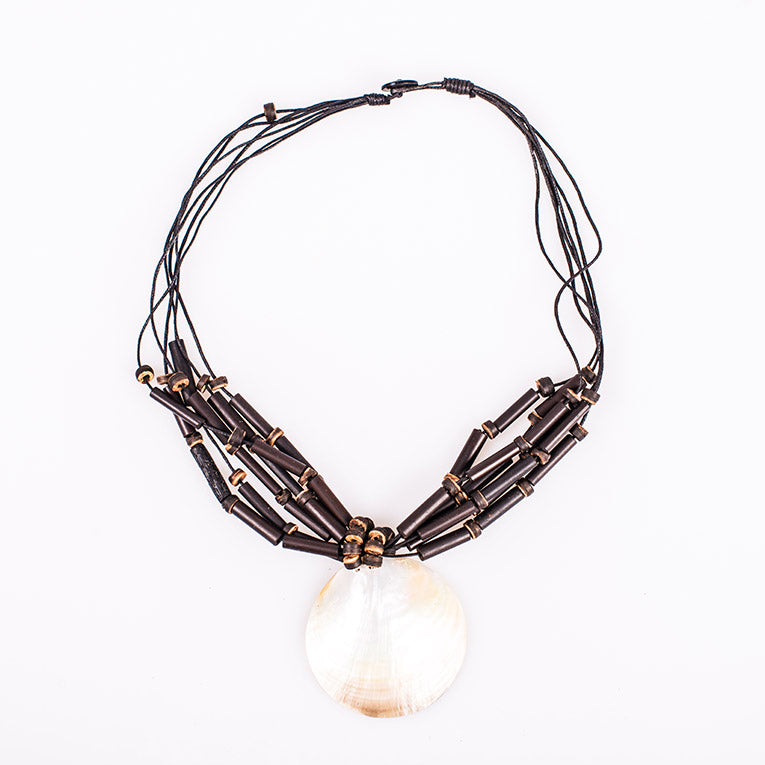 Wooden Mother-of-Pearl Necklace