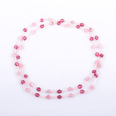 Dazzling Pink Diamond Shaped Beaded Necklace
