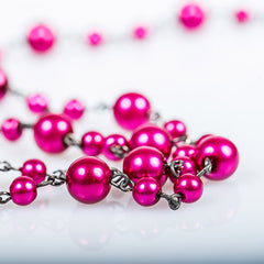 Pink Lariat Beads Necklace