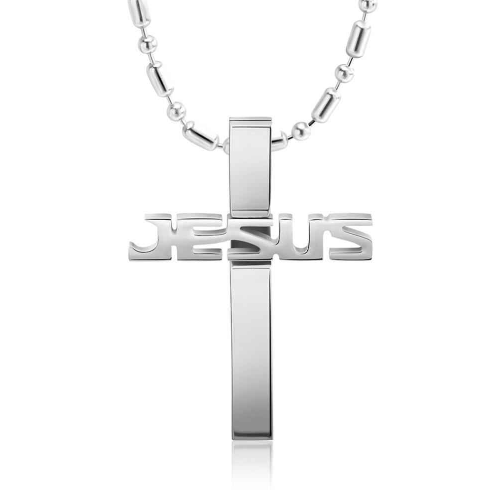Stainless steel cross jesus necklace mens 3 colors by his grace premium stainless steel jesus necklace 3 colors mozeypictures Image collections