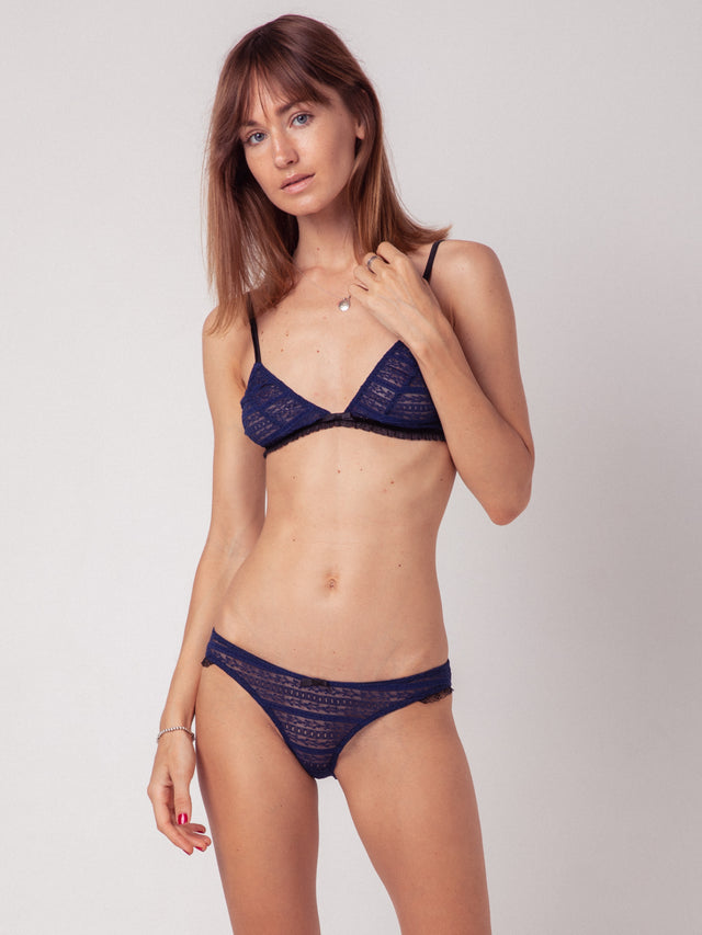 souhela ferrah. lingerie. underwear. French girl. navy lace.