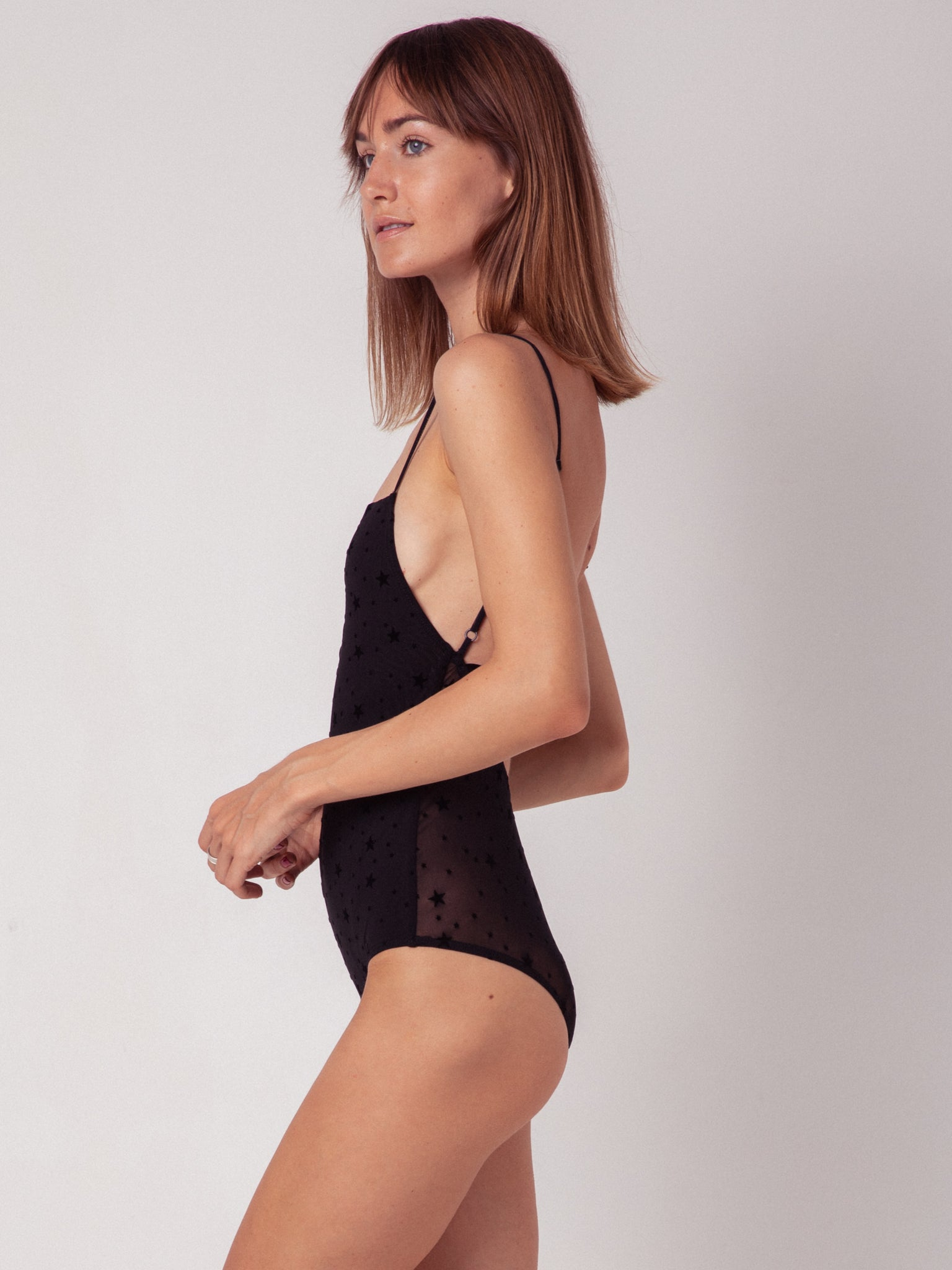 body. one piece. black. underwear. souhela ferrah. back. lingerie.