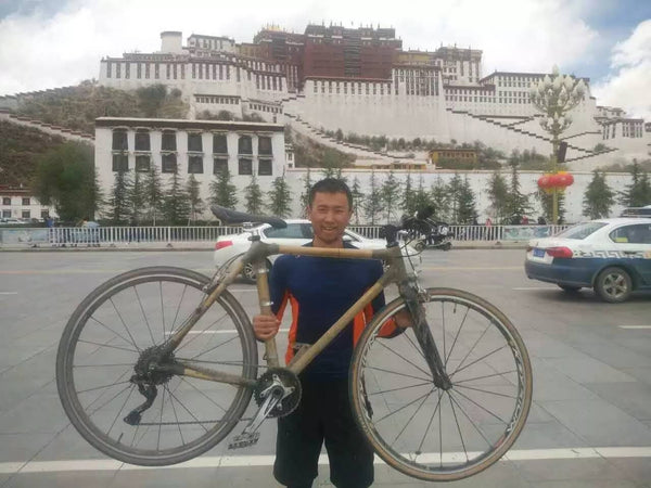 Arrival at lhasa on simple bikes