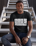 black man smiling sitting on staircase black God's property tshirt outside bold christian
