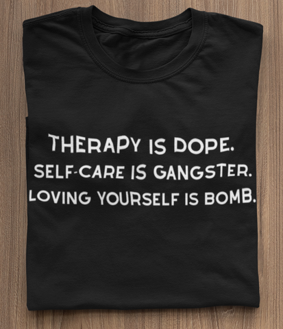 black self care tshirt therapy love yourself self love ladies women empowerment