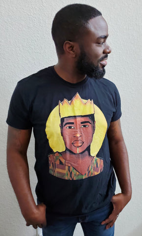 Black man side profile smiling blank background black king tshirt crown royalty melanin