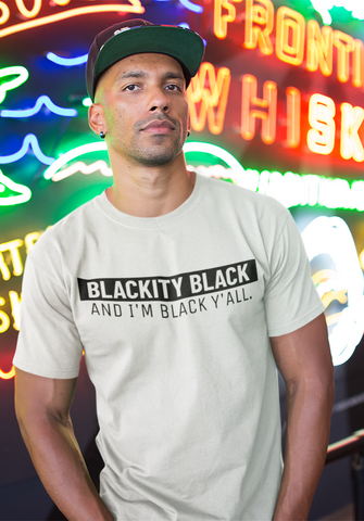 black man outside neon sign blackity black tshirt