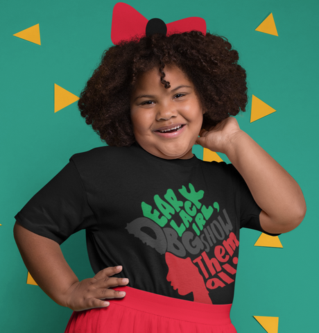Smiling girl curly natural hair afro dear black girl tshirt