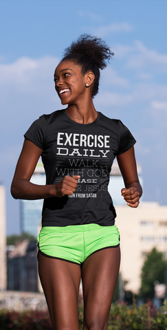 sweet expreshunz exercise tshirt happy woman out jogging shorts smiling