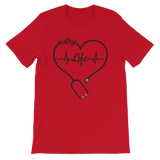 nurse life stethoscopes heart heartbeat red shirt