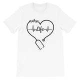 nurse life white shirt stethoscope tshirt heartbeat