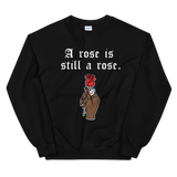still a rose black sweatshirt hand holding a rose